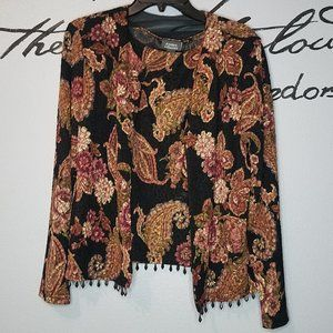 Two Piece Black and Tan Floral Jacket w/Bead Trim
